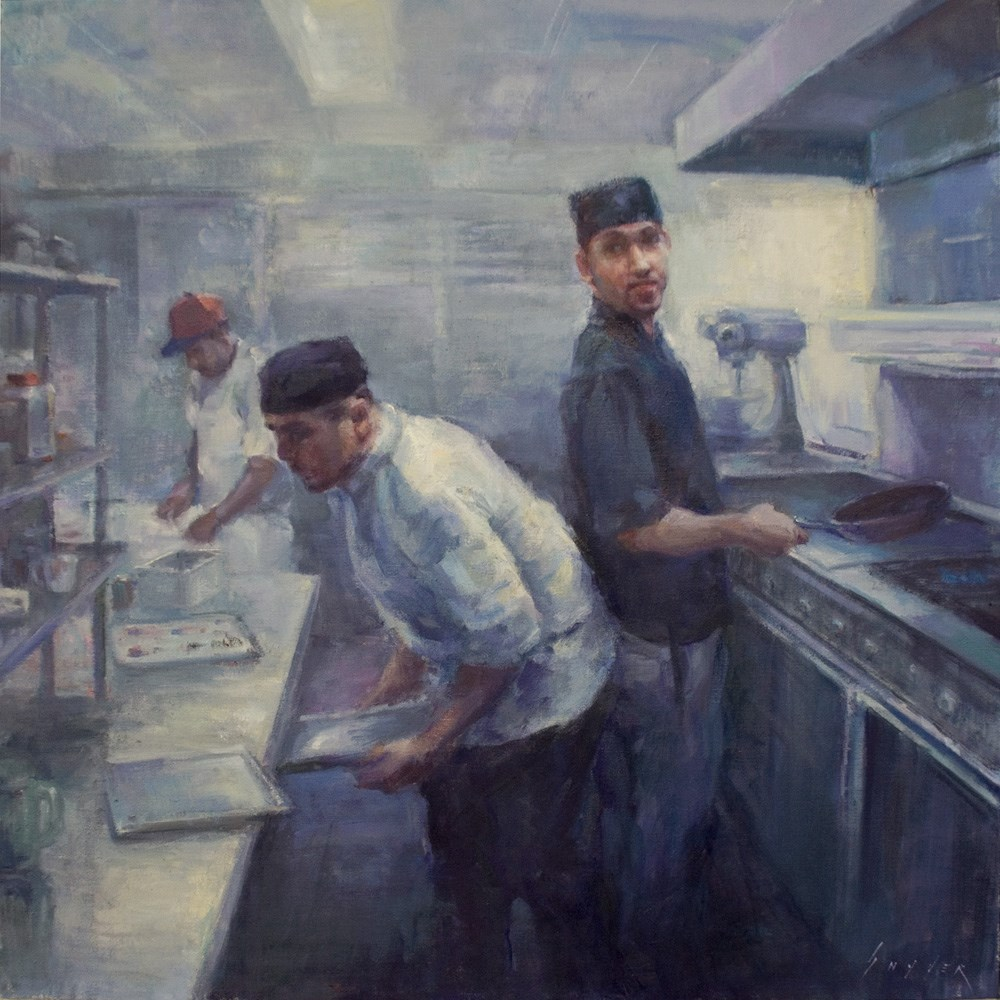 """Blinn House Kitchen Chefs"" original fine art by Julie Snyder"