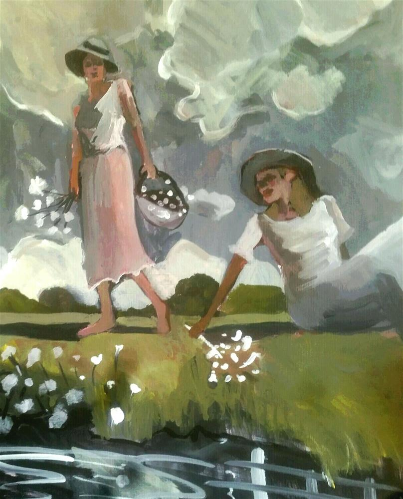 """Collecting Daisies"" original fine art by Liz Maynes"