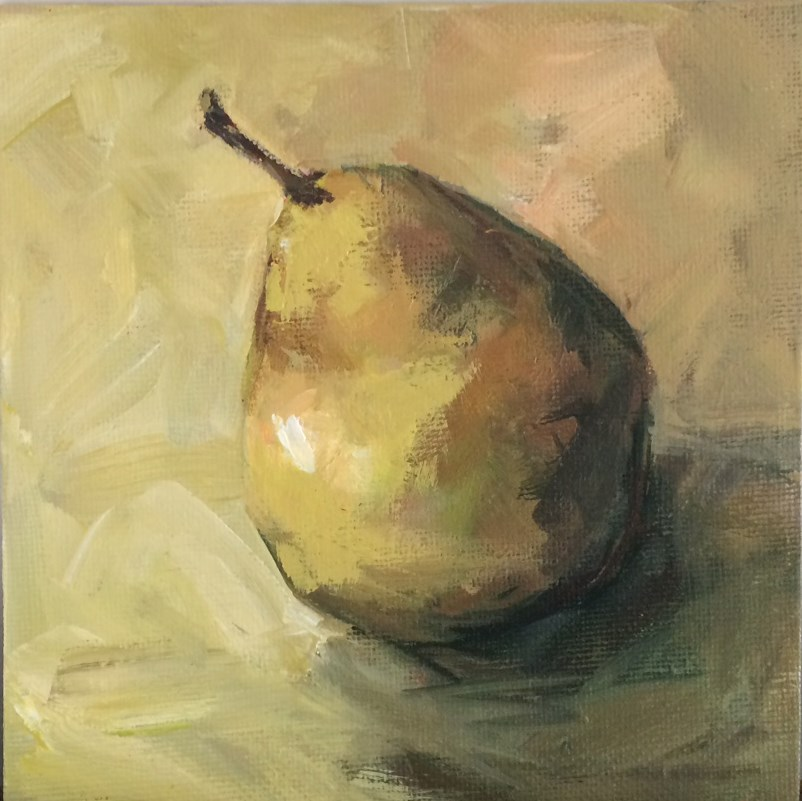 """Single Pear No. 4"" original fine art by Shannon Bauer"