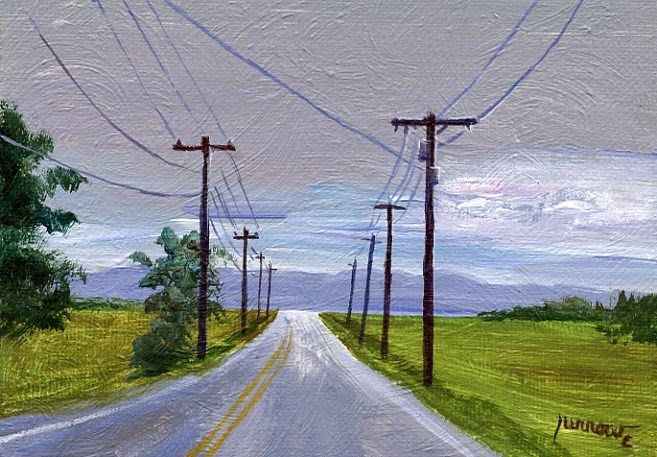 """""""ORIGINAL PAINTING OF UTILITY POLES ALONG A TYPICAL ROAD"""" original fine art by Sue Furrow"""