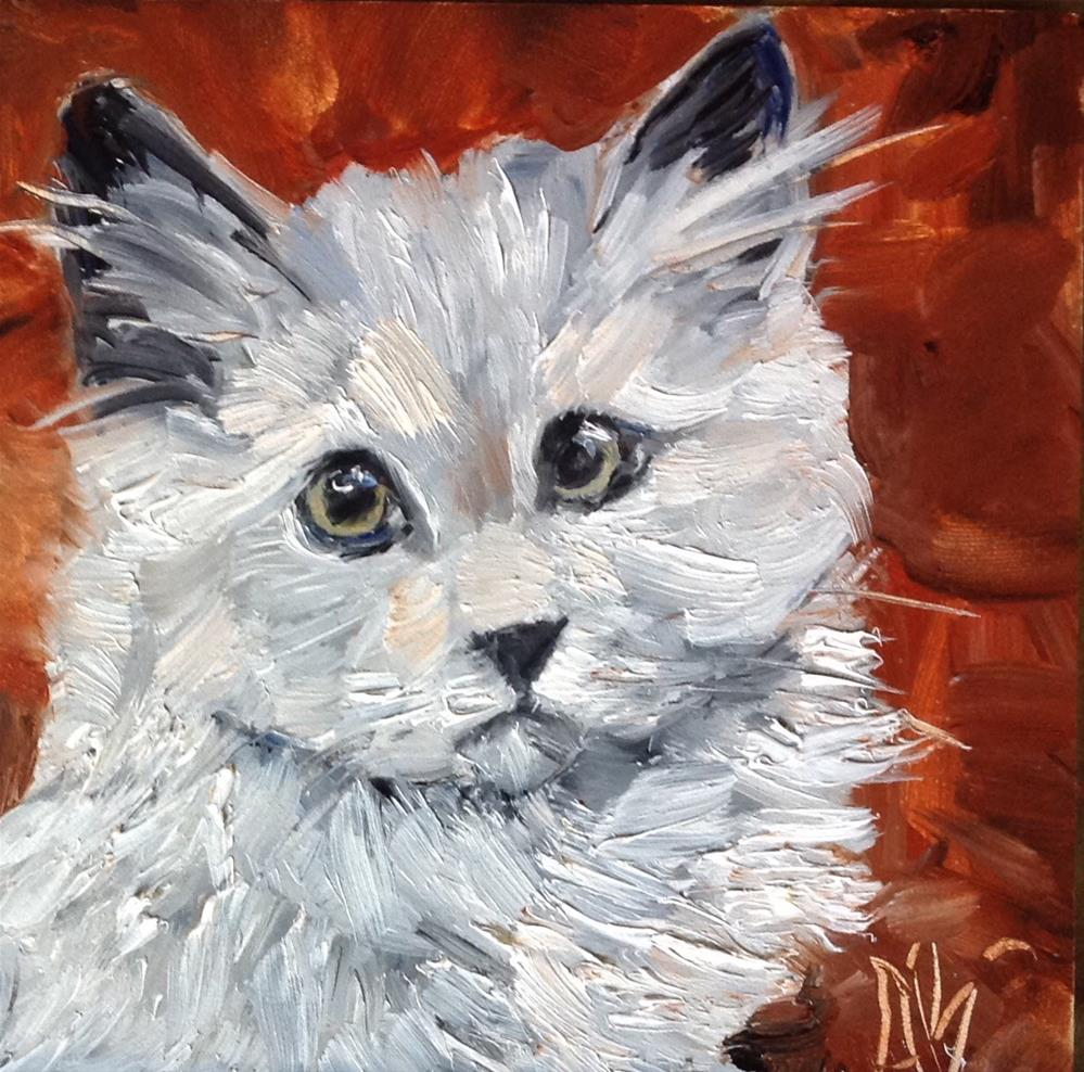 """Gray cat's portrait"" original fine art by Annette Balesteri"