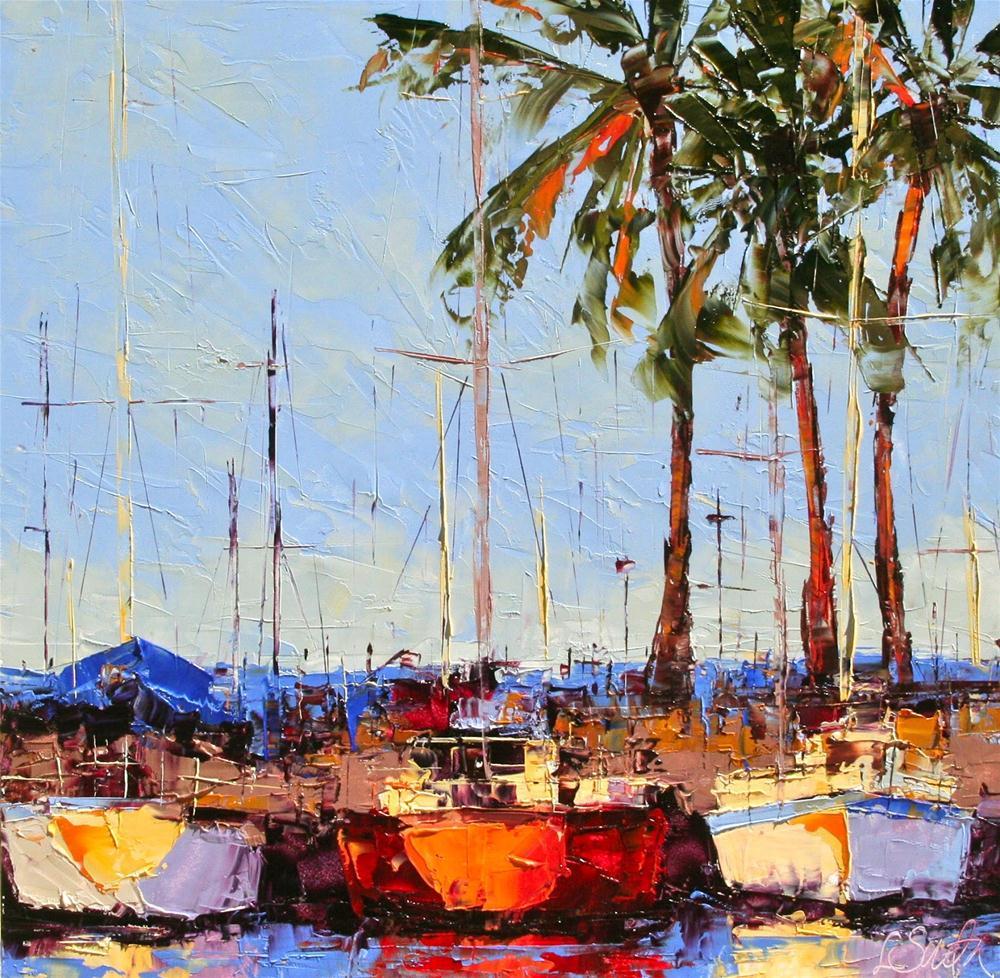 """Docked at Waikiki - SOLD"" original fine art by Leslie Saeta"