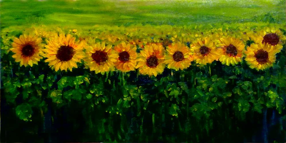 """""""Sunflowers in a row"""" original fine art by Asha Shenoy S"""