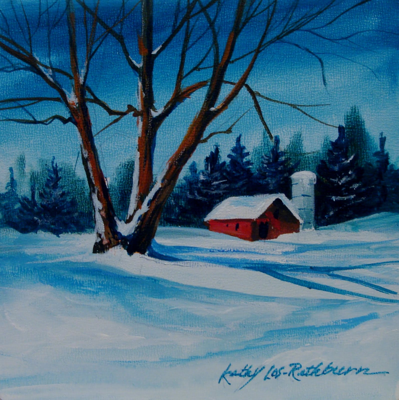 """Winter in Acrylics"" original fine art by Kathy Los-Rathburn"