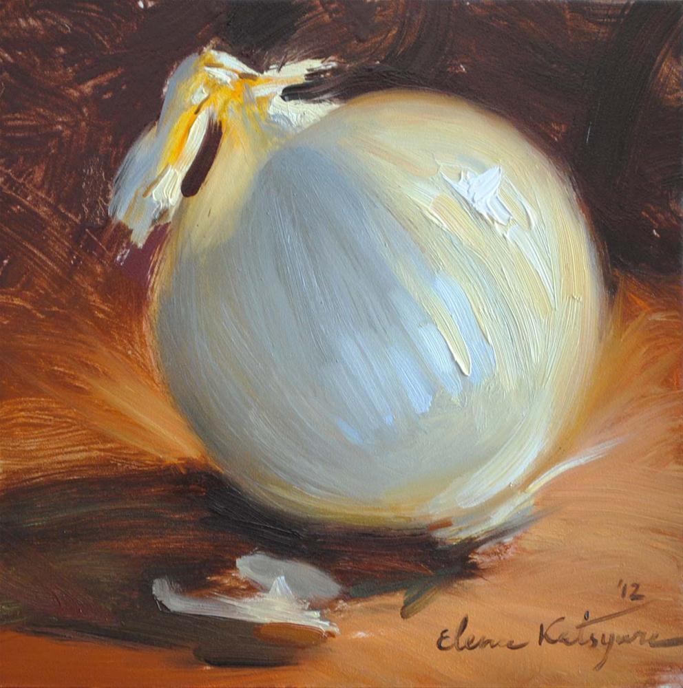 """White Onion"" original fine art by Elena Katsyura"