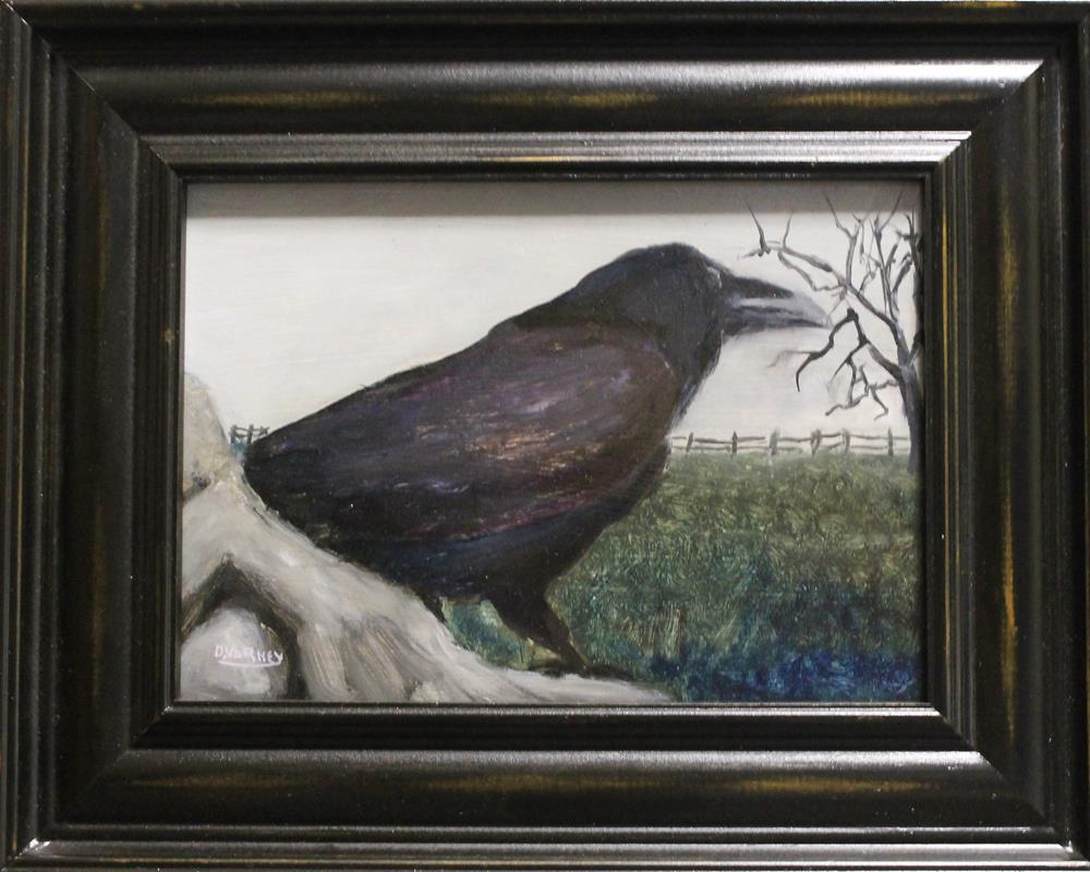 """""""Raven on rock"""" original fine art by Daniel Varney"""
