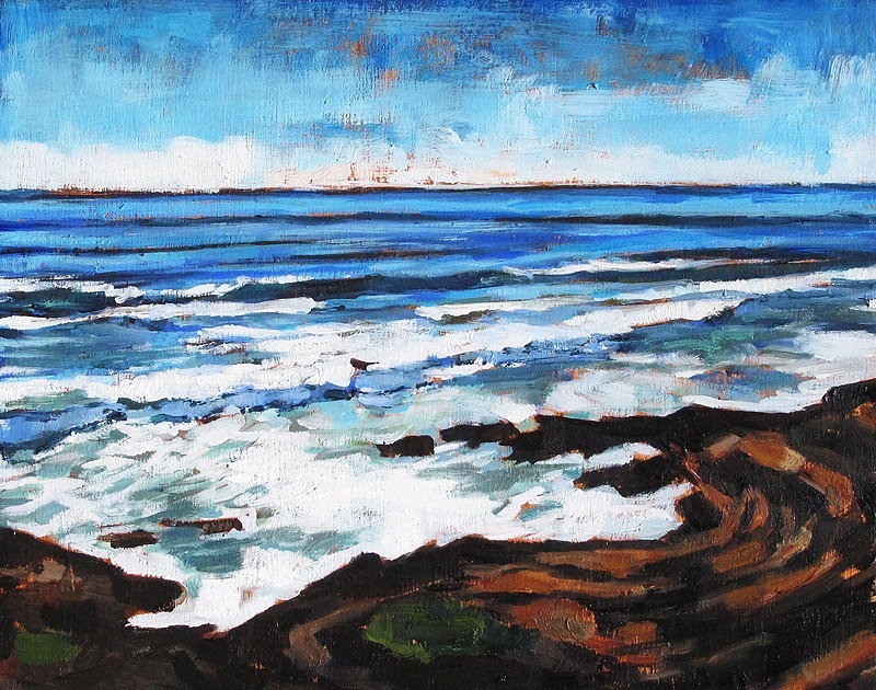 """Waves on the Rocks, Cabrillo"" original fine art by Kevin Inman"