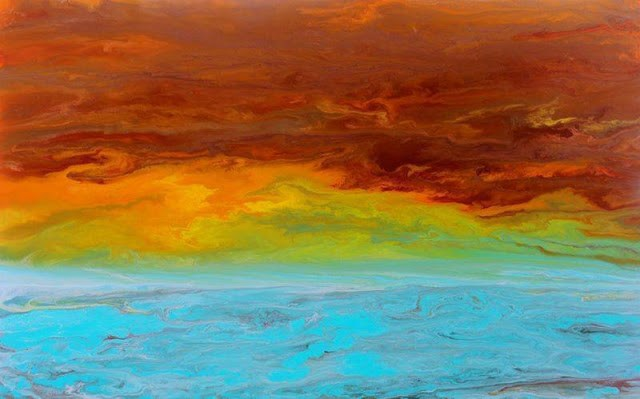 """Abstract Seascape Painting Sunrise Reflections by Colorado Contemporary Artist Kimberly Conrad"" original fine art by Kimberly Conrad"