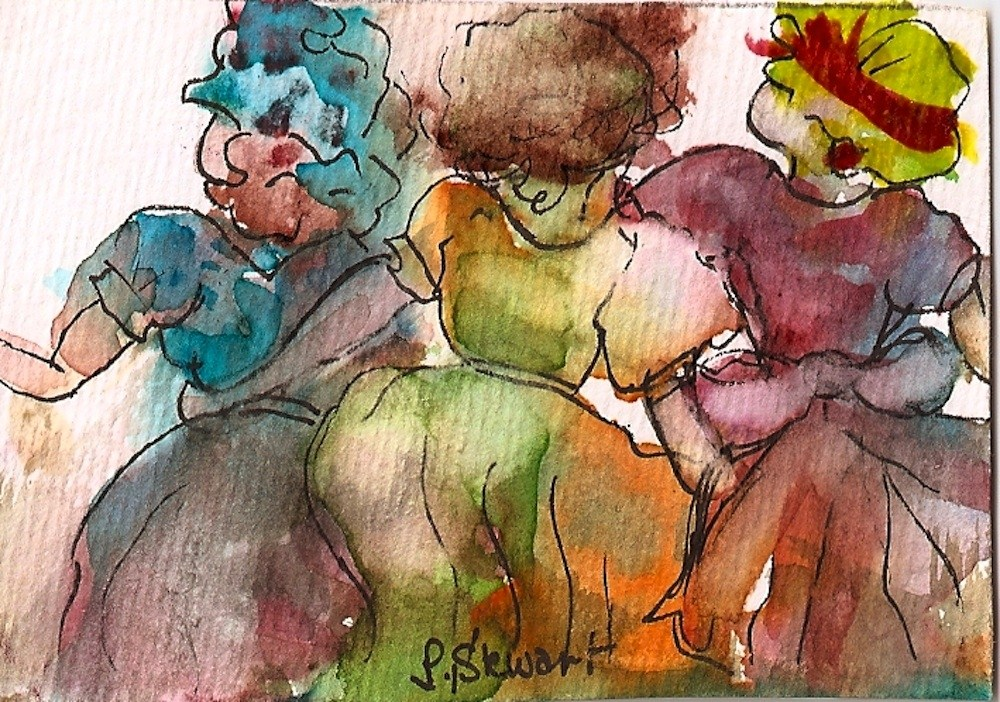 """ACEO 3 Maids in a Row"" original fine art by Penny Lee StewArt"