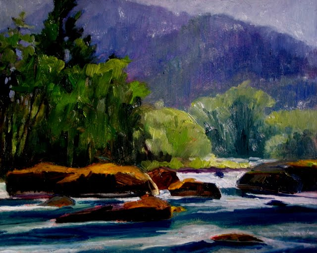 """Elwha River Valley plein air oil landscape painting"" original fine art by Robin Weiss"