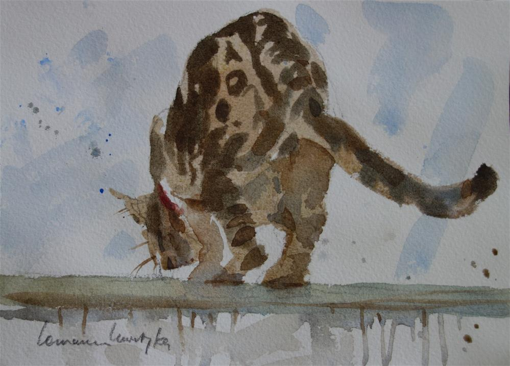 """Jumping Cat #3"" original fine art by Lorraine Lewitzka"