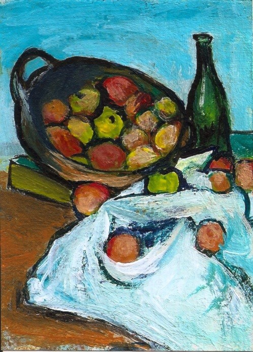 """ACEO Wine and Apples in the style of Cezanne Miniature Original by Penny StewArt"" original fine art by Penny Lee StewArt"