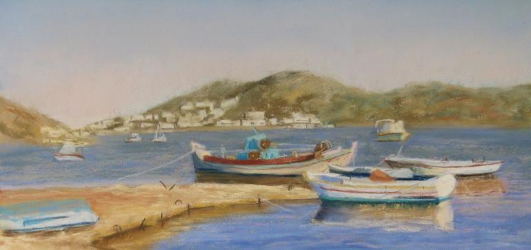 """Fishing boats, Leros"" original fine art by Ruth Mann"