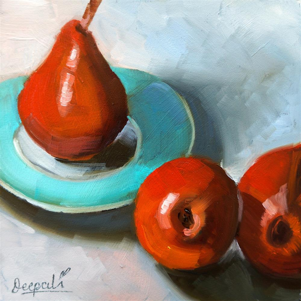 """Red pears"" original fine art by Dipali Rabadiya"