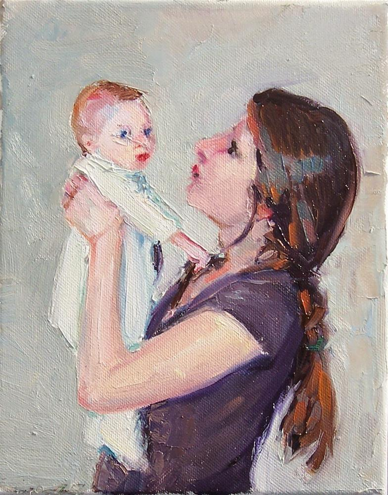 """Baby and Mom,figures,oil on canvas,10x8,price$350"" original fine art by Joy Olney"