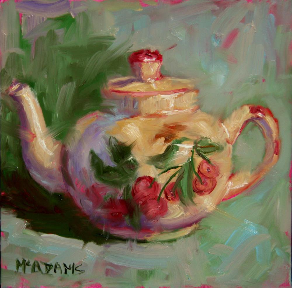 """Cherry Teapot"" original fine art by Phyllis McAdams"