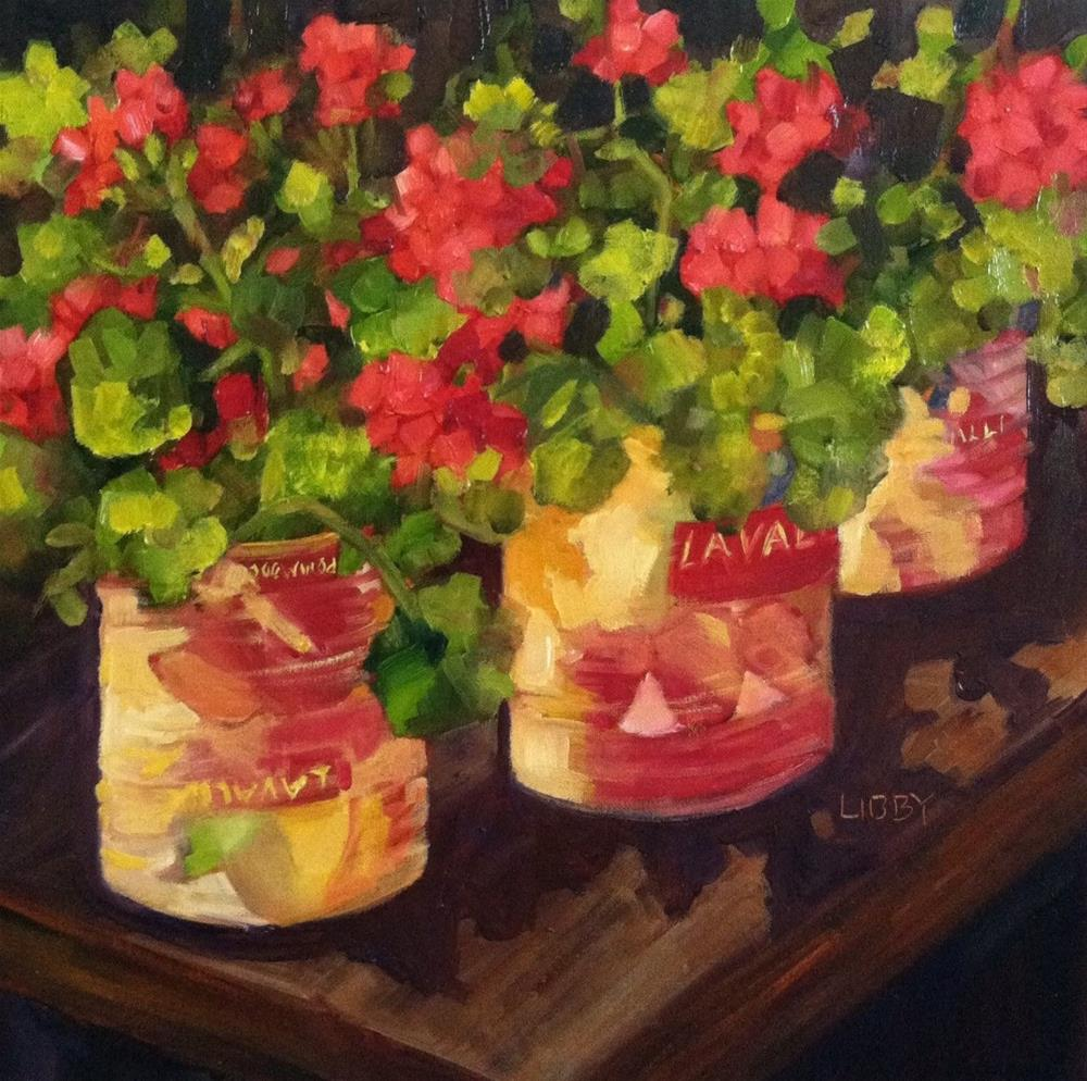 """Tomato cans and Geraniums"" original fine art by Libby Anderson"