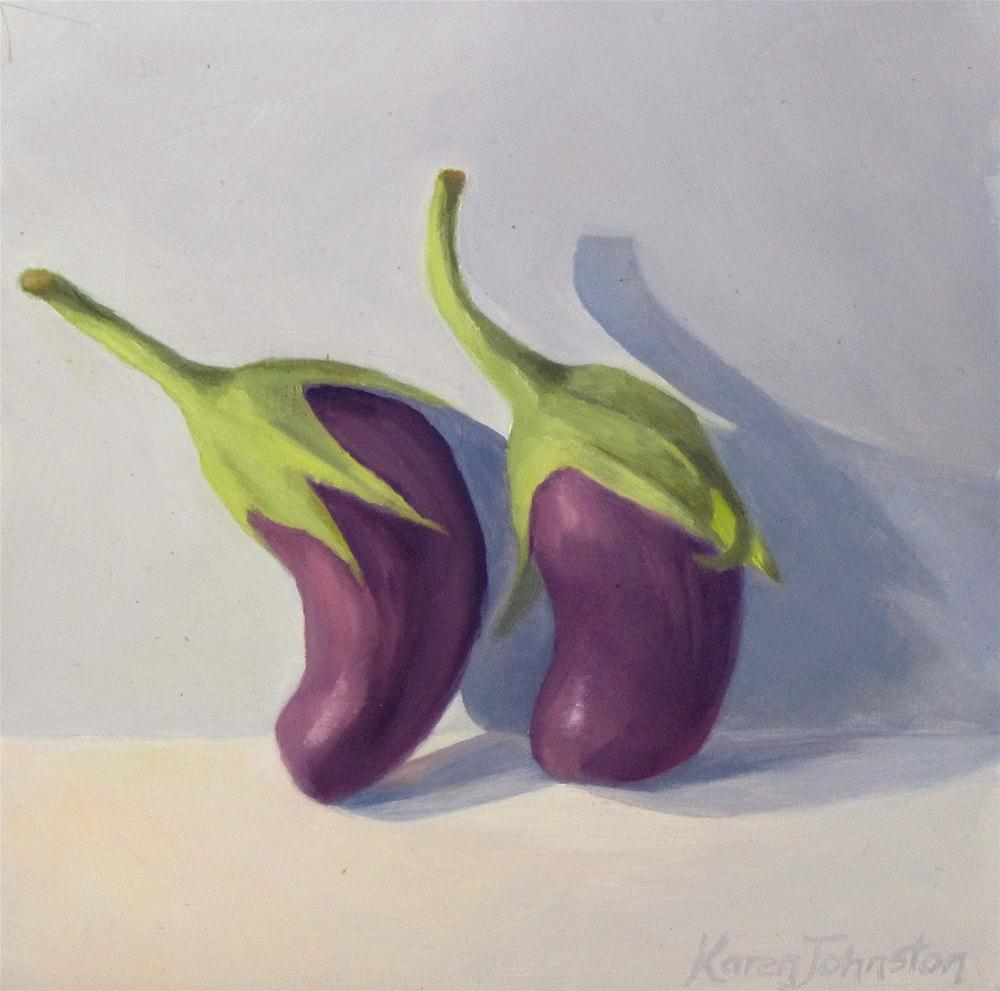 """Oriental Eggplants"" original fine art by Karen Johnston"