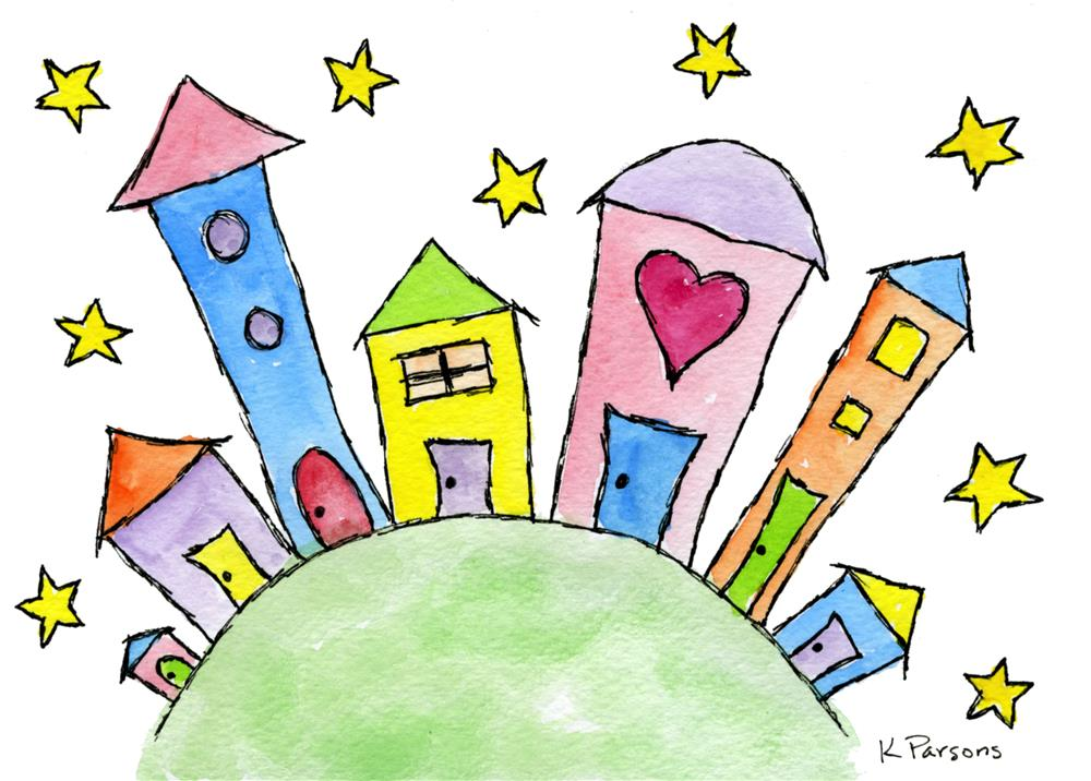 """""""Tiny Town on a Hill"""" original fine art by Kali Parsons"""