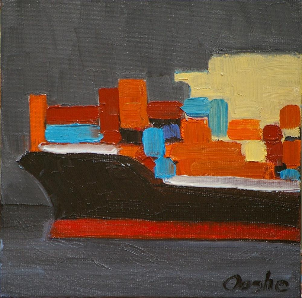 """Container Ship 2"" original fine art by Angela Ooghe"