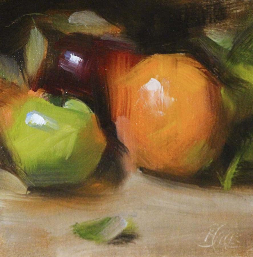 """Apple, Apple, Orange"" original fine art by Pamela Blaies"