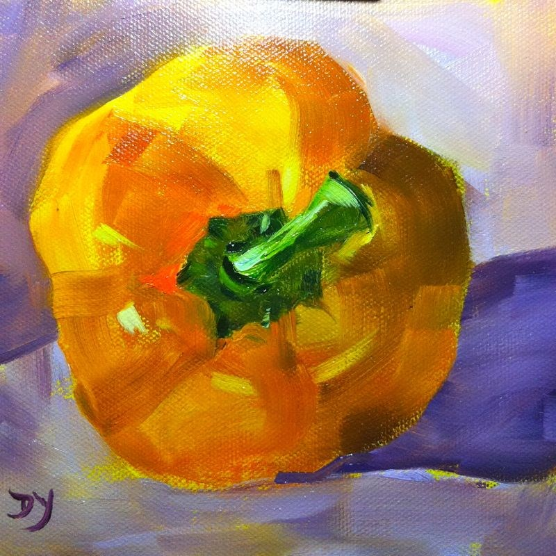 """Yellow Pepper, oil on canvas, 6x6"" original fine art by Darlene Young"