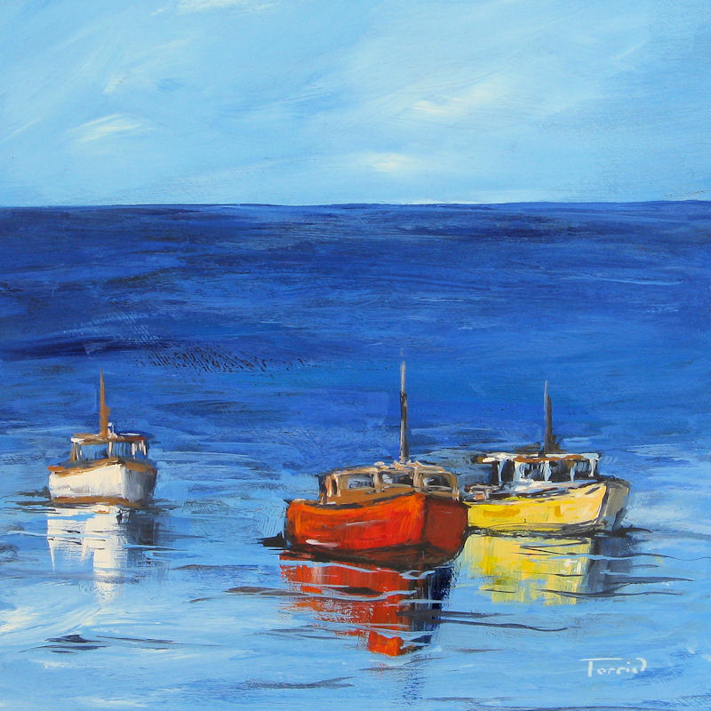"""Three Boats"" original fine art by Torrie Smiley"