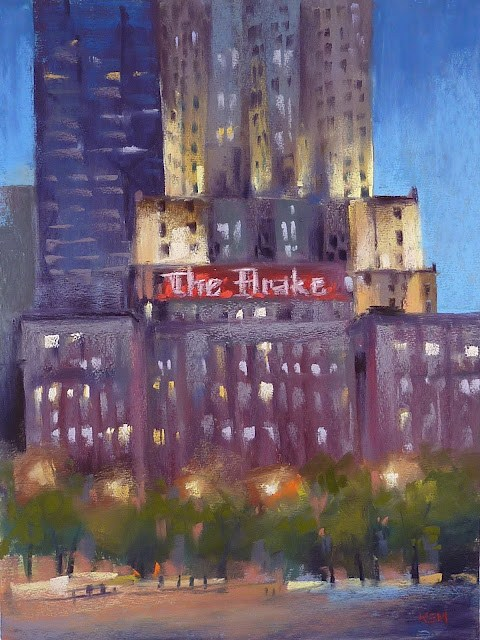"""A Chicago Night Painting. ...The Drake Hotel"" original fine art by Karen Margulis"