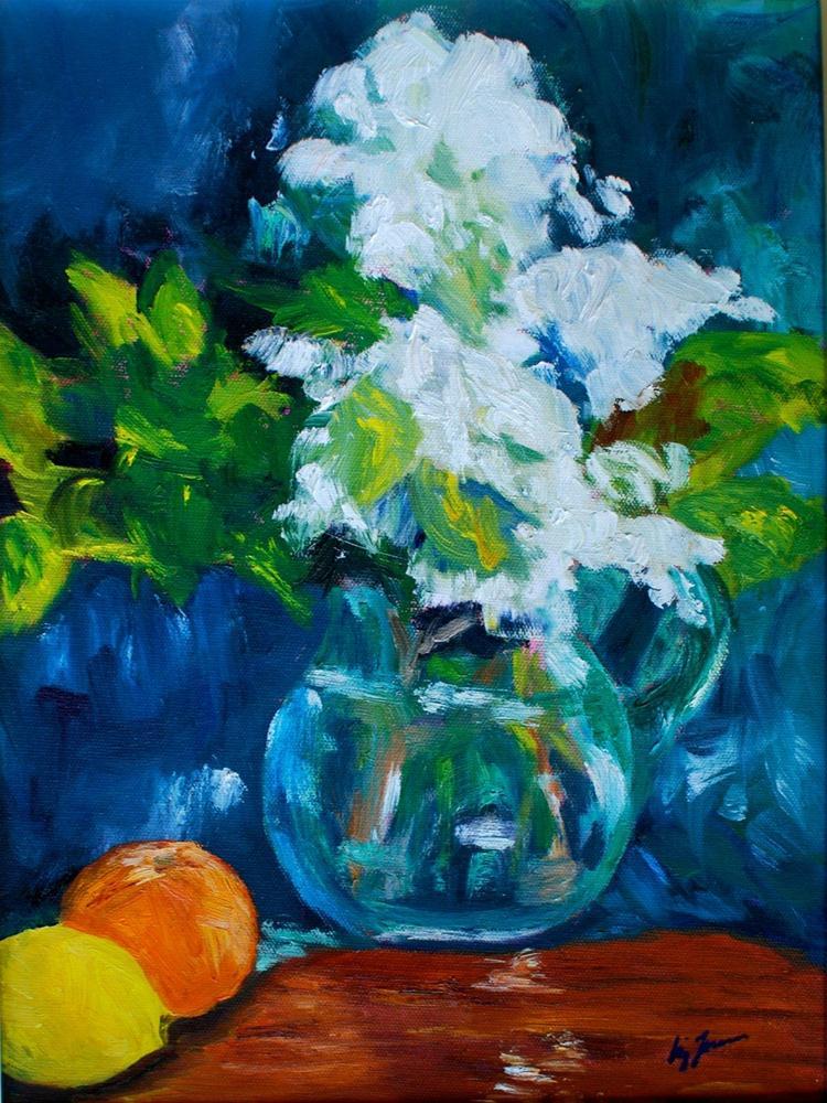 """""""White Summer Flowers"""" original fine art by Liz Zornes"""