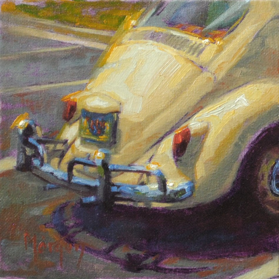 """Vintage Beetle #2"" original fine art by Cecile W. Morgan"