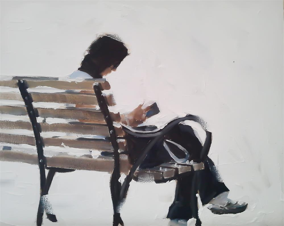 """Woman on a Bench"" original fine art by James Coates"