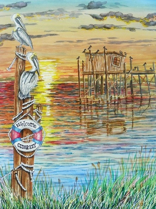 """sunset of Cedar Key  # 175"" original fine art by Jim Whiteside"