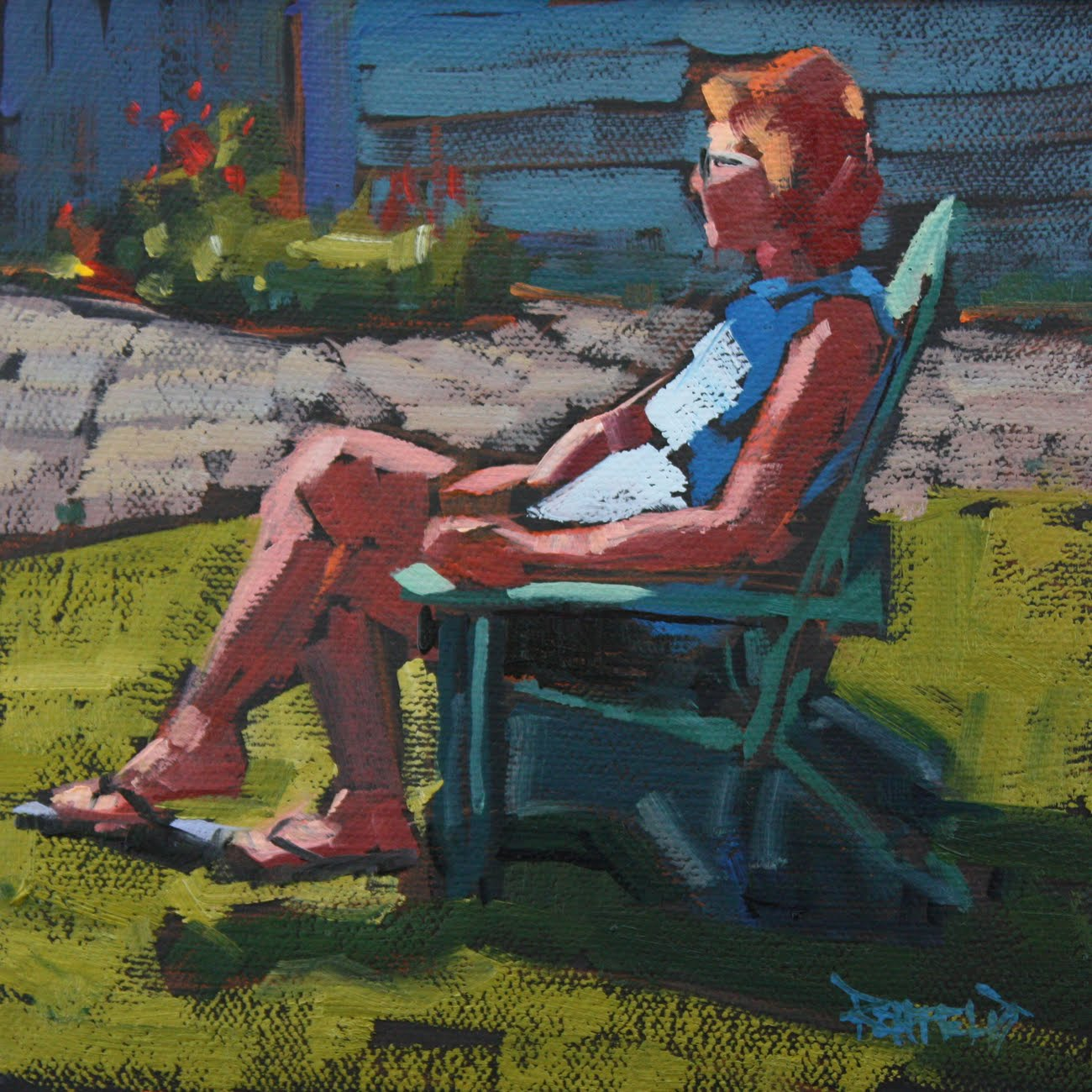 """Red Head in the Sun - sold"" original fine art by Cathleen Rehfeld"