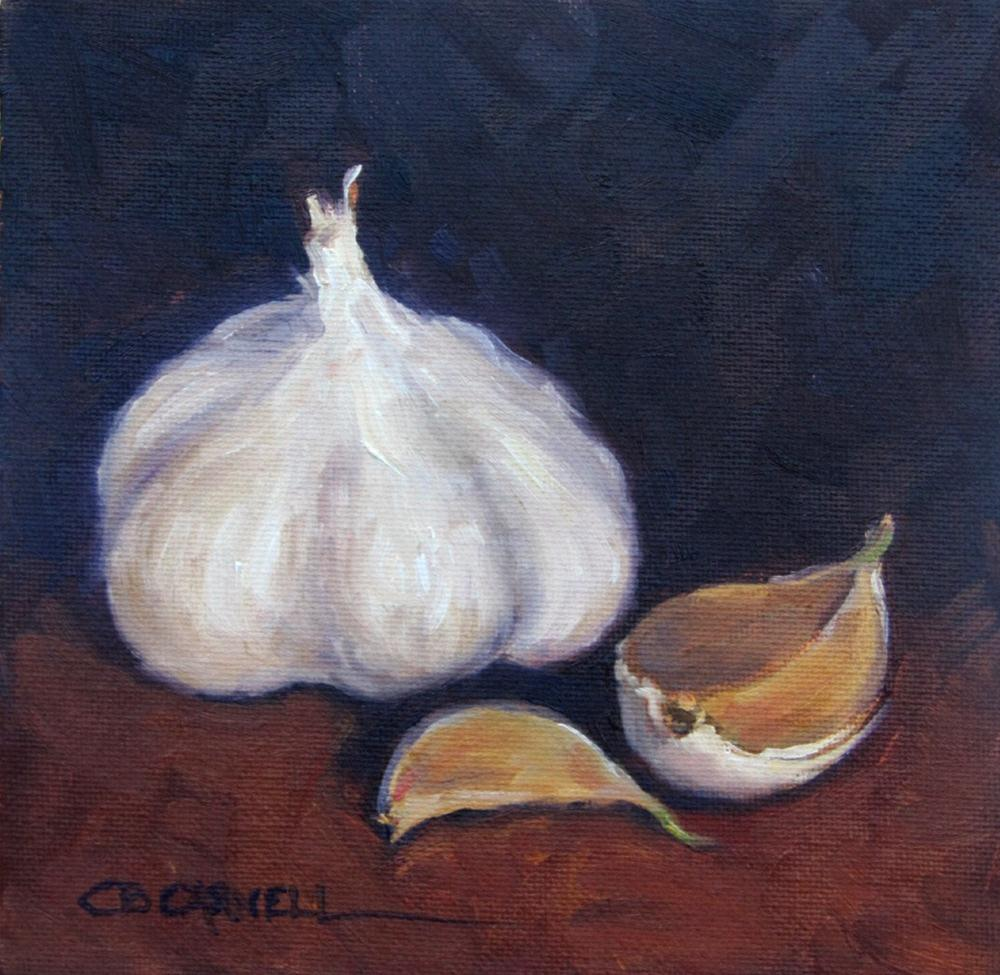 """""""GARLIC An Original Oil Painting by Claire Beadon Carnell Thirty Paintings in Thirty Days Challenge D"""" original fine art by Claire Beadon Carnell"""