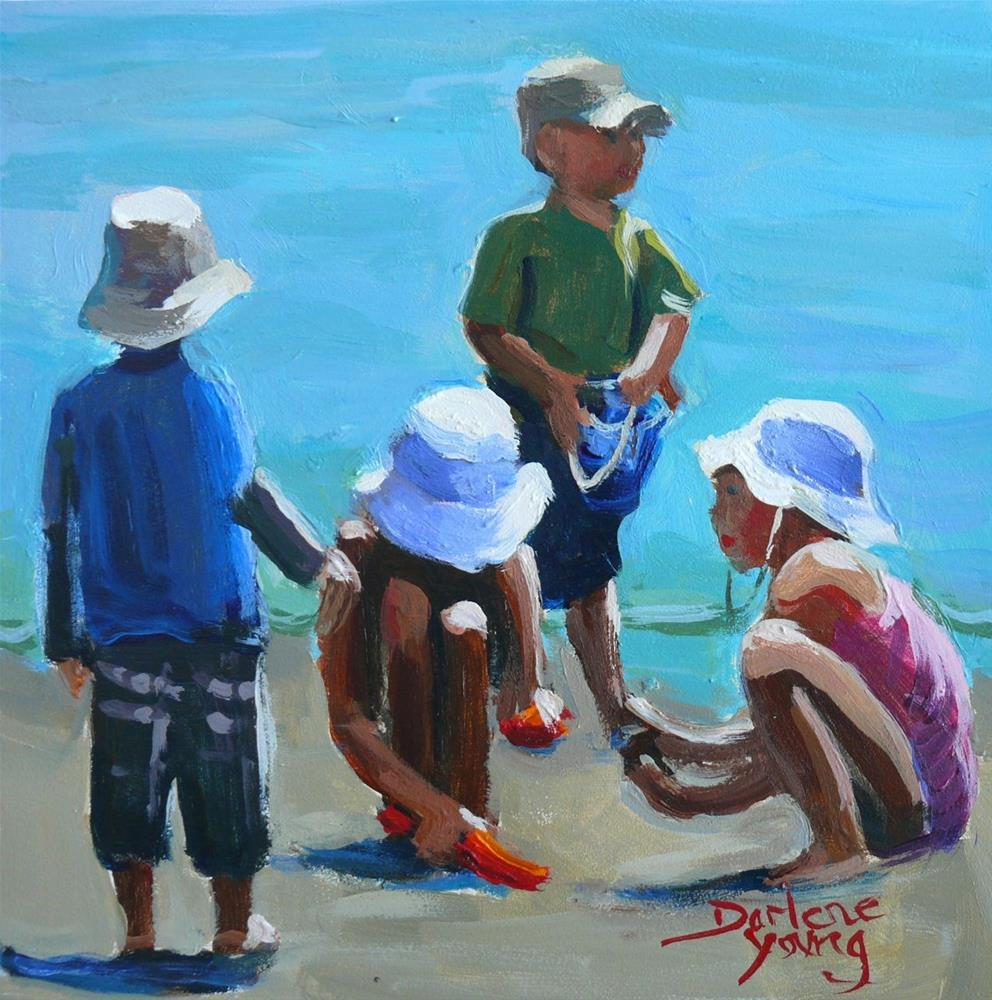 """849 Beach Kids, oil on board, 6x6"" original fine art by Darlene Young"