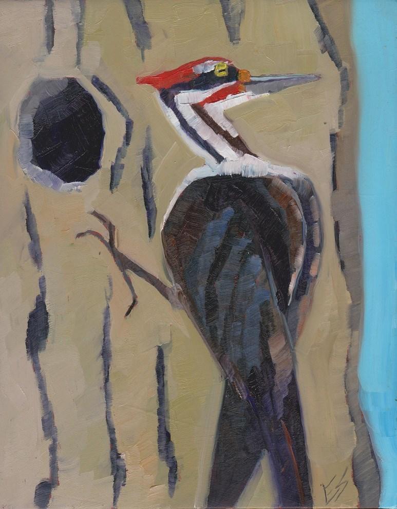 """""""Woodpecker"""" original fine art by Elizabeth See"""