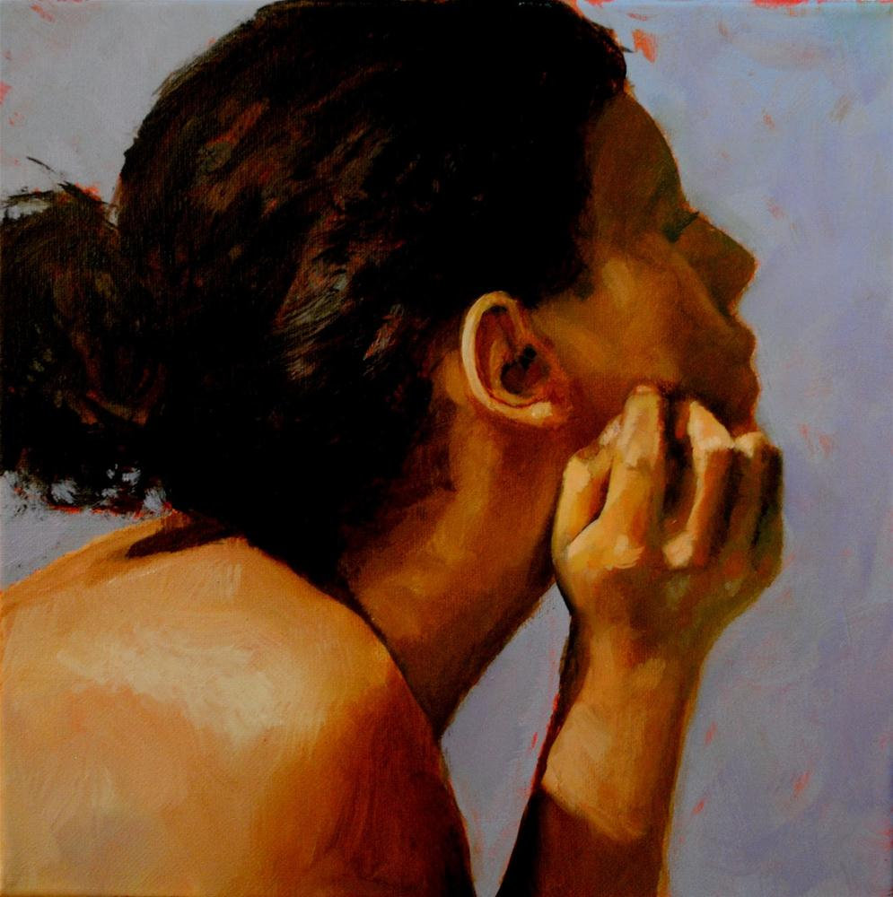 """""""Lost in Thought 12x12 oil on canvas in black frame"""" original fine art by David Larson Evans"""