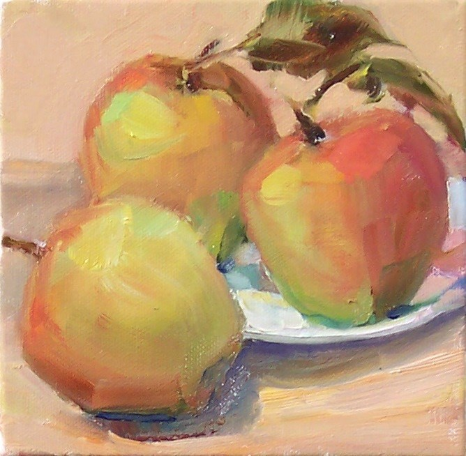 """Fresh Picked Apples,still life,oil on canvas,6x6,priceNFS"" original fine art by Joy Olney"
