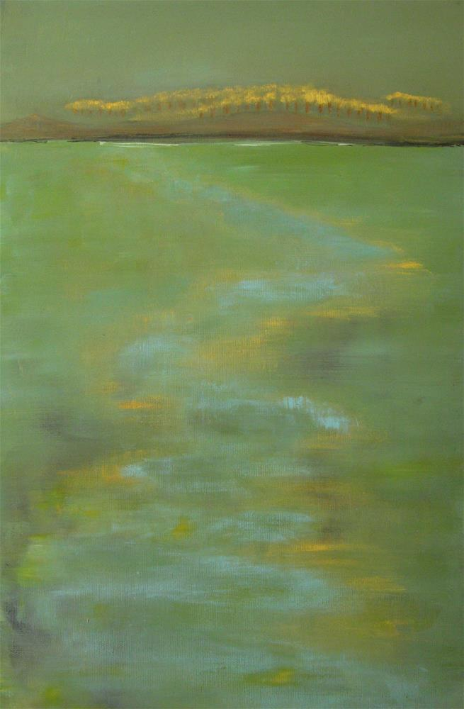 """Golden Green Landscape"" original fine art by Alina Frent"