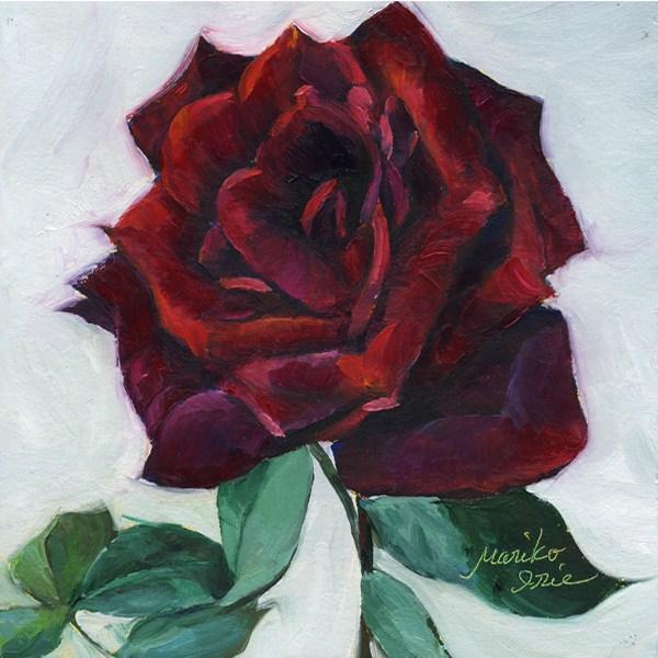 """Red Rose"" original fine art by Mariko Irie"