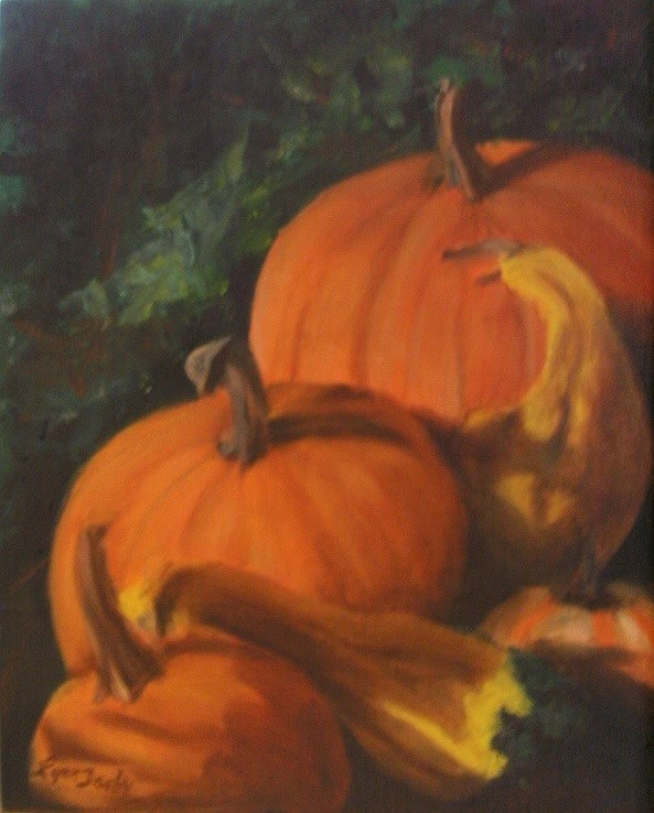 """More Pumpkins"" original fine art by Lynn Darby"