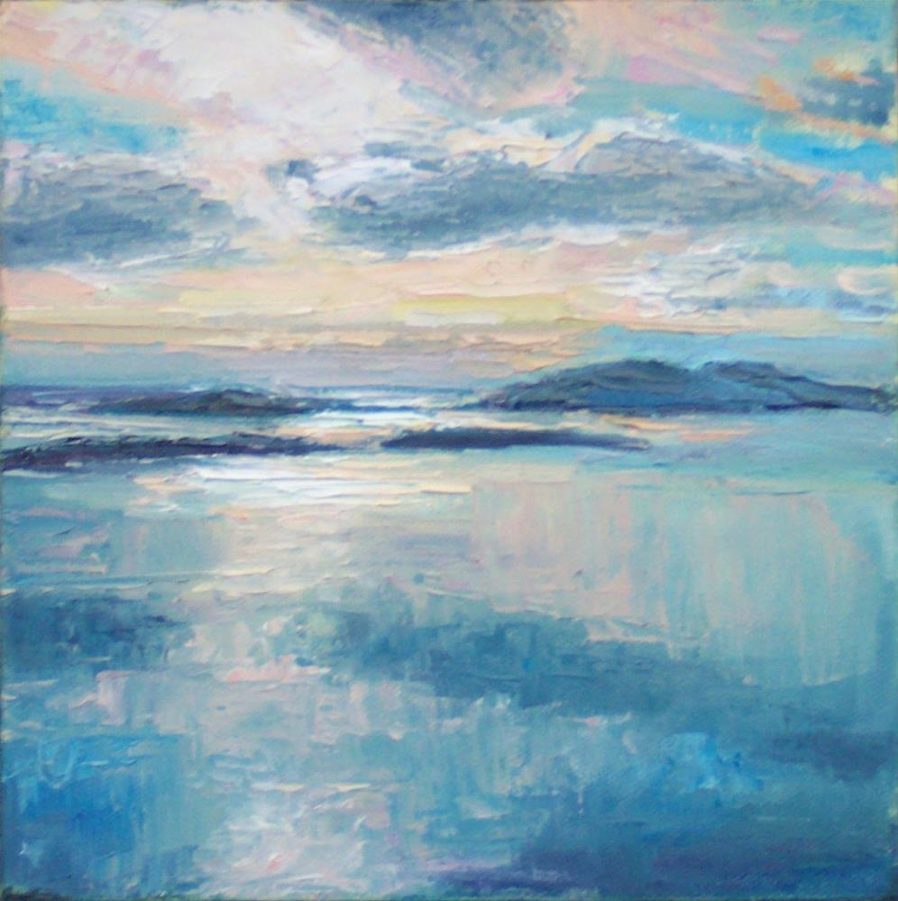 """EVENING VIEW FROM BLANCHARD Mt.,seascape,oil on canvas,8x8,price$300"" original fine art by Joy Olney"