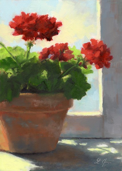 """Geraniums Sunlit"" original fine art by Linda Jacobus"
