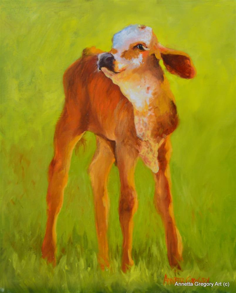 """Baby Brahma"" original fine art by Annetta Gregory"