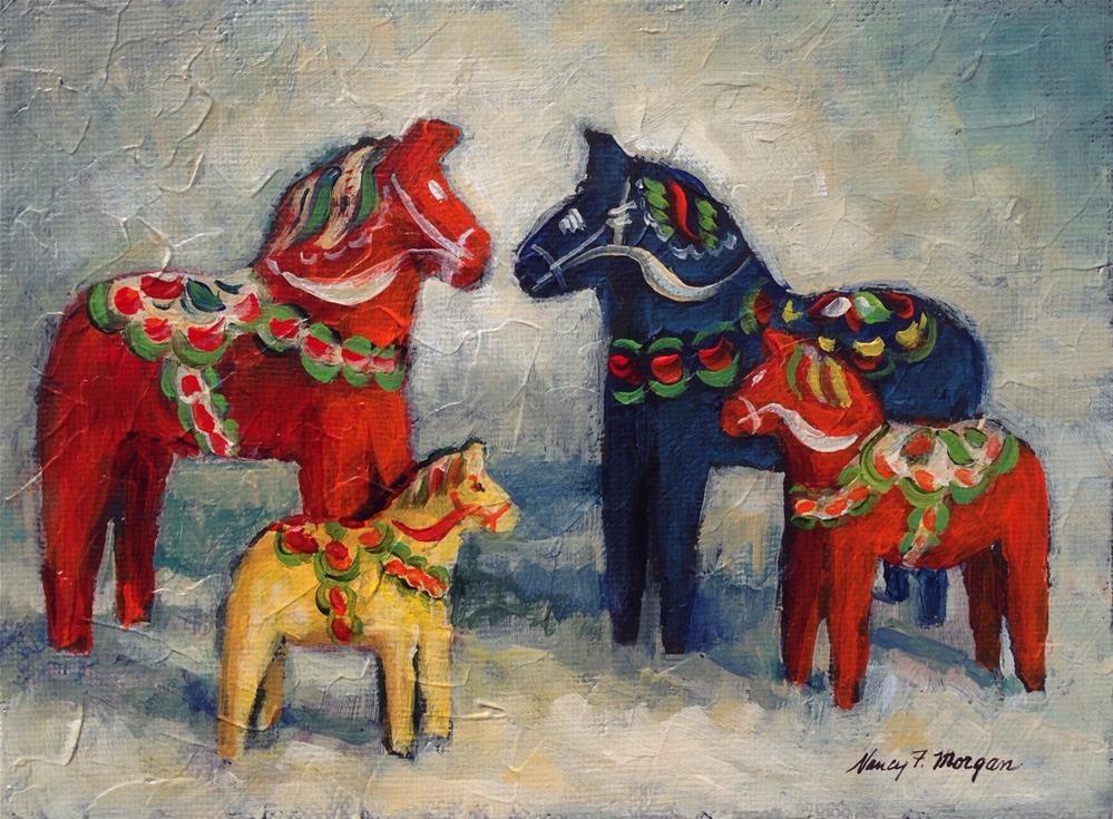 """Horse Talk"" original fine art by Nancy F. Morgan"