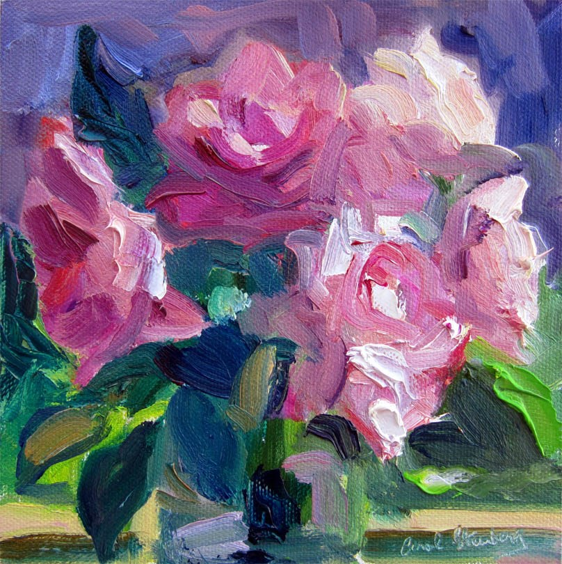 """Roses, Purple and Green"" original fine art by Carol Steinberg"