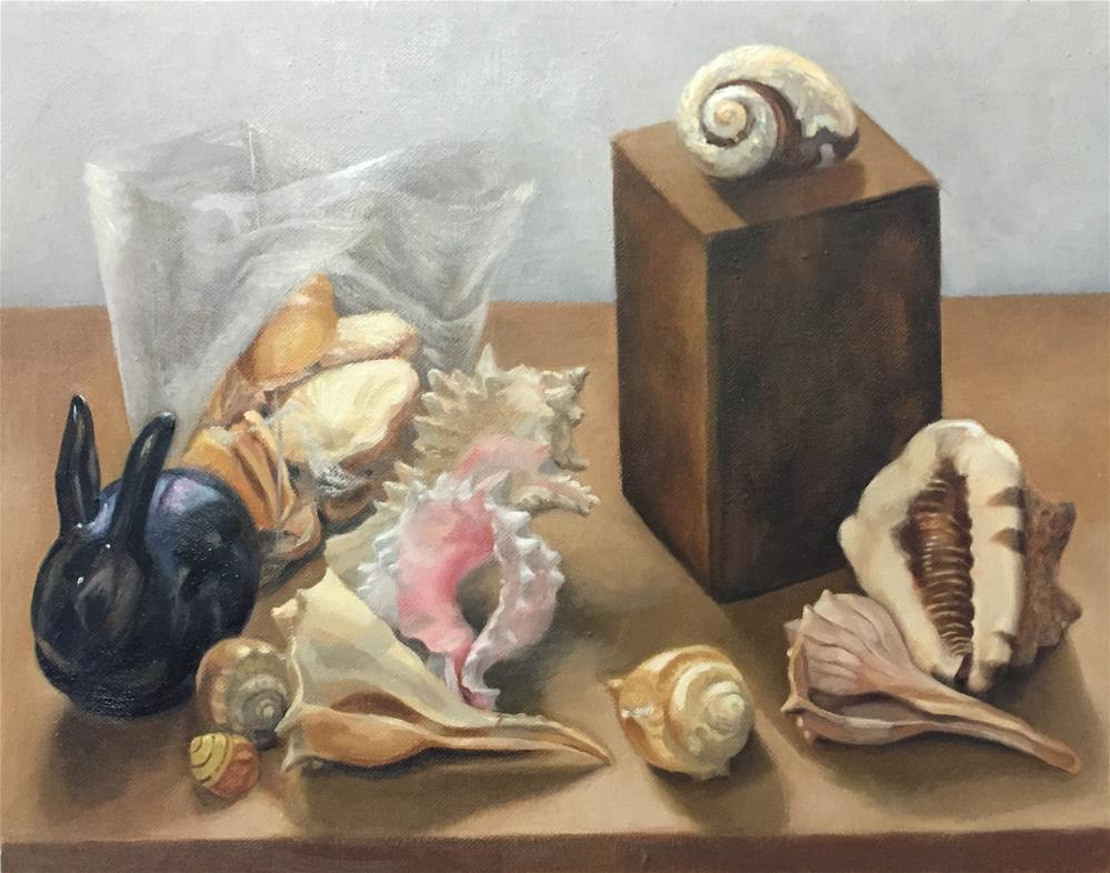 """Black Bunny and Shells"" original fine art by Cheryl Meehan"