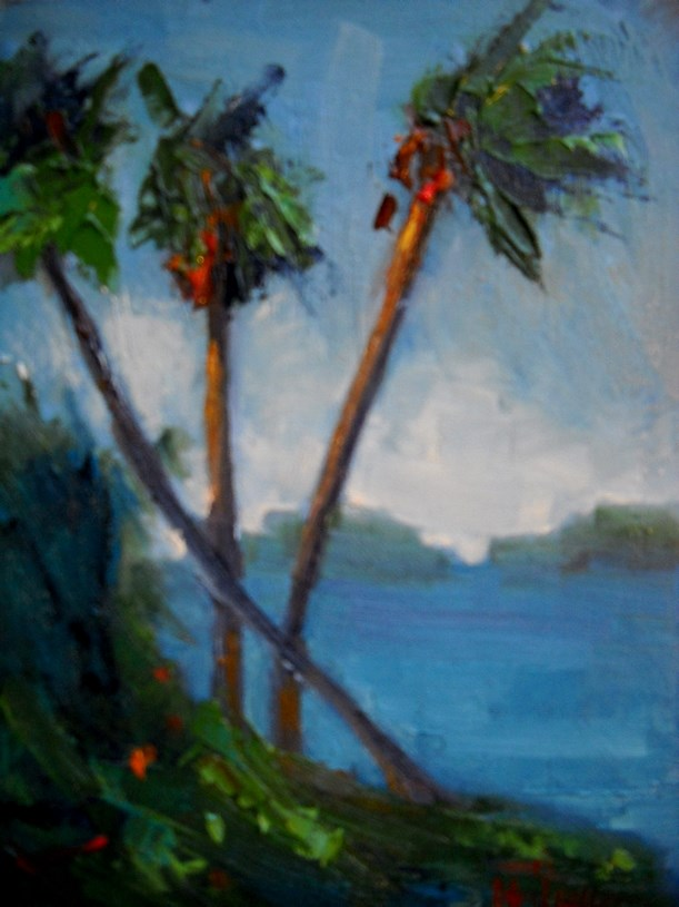 """Tropical Landscape Painting, Daily Painting, Small Oil Painting, Palms in Breeze by Carol Schiff,"" original fine art by Carol Schiff"