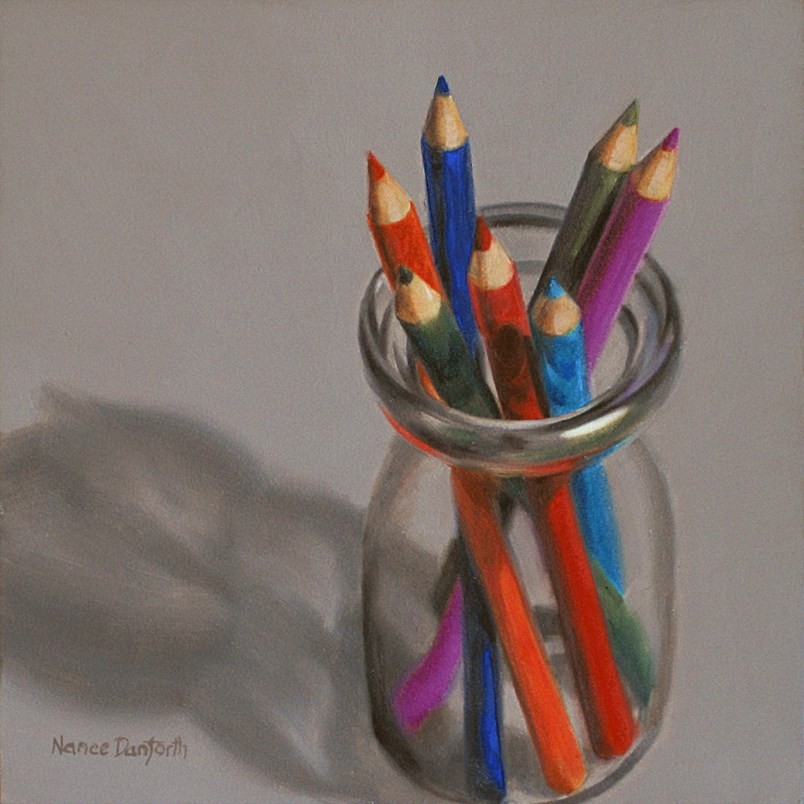 """Colored Pencils in Cream Bottle III"" original fine art by Nance Danforth"