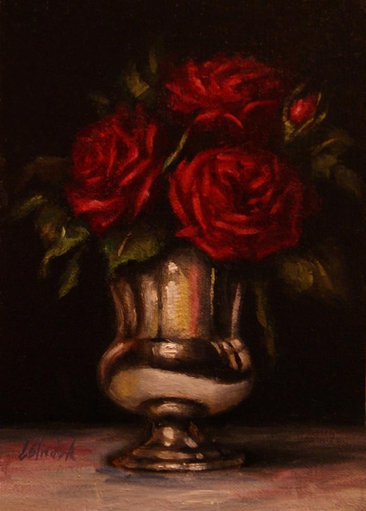 """""""Red Roses in Sterling Silver Vase"""" original fine art by Carolina Elizabeth"""